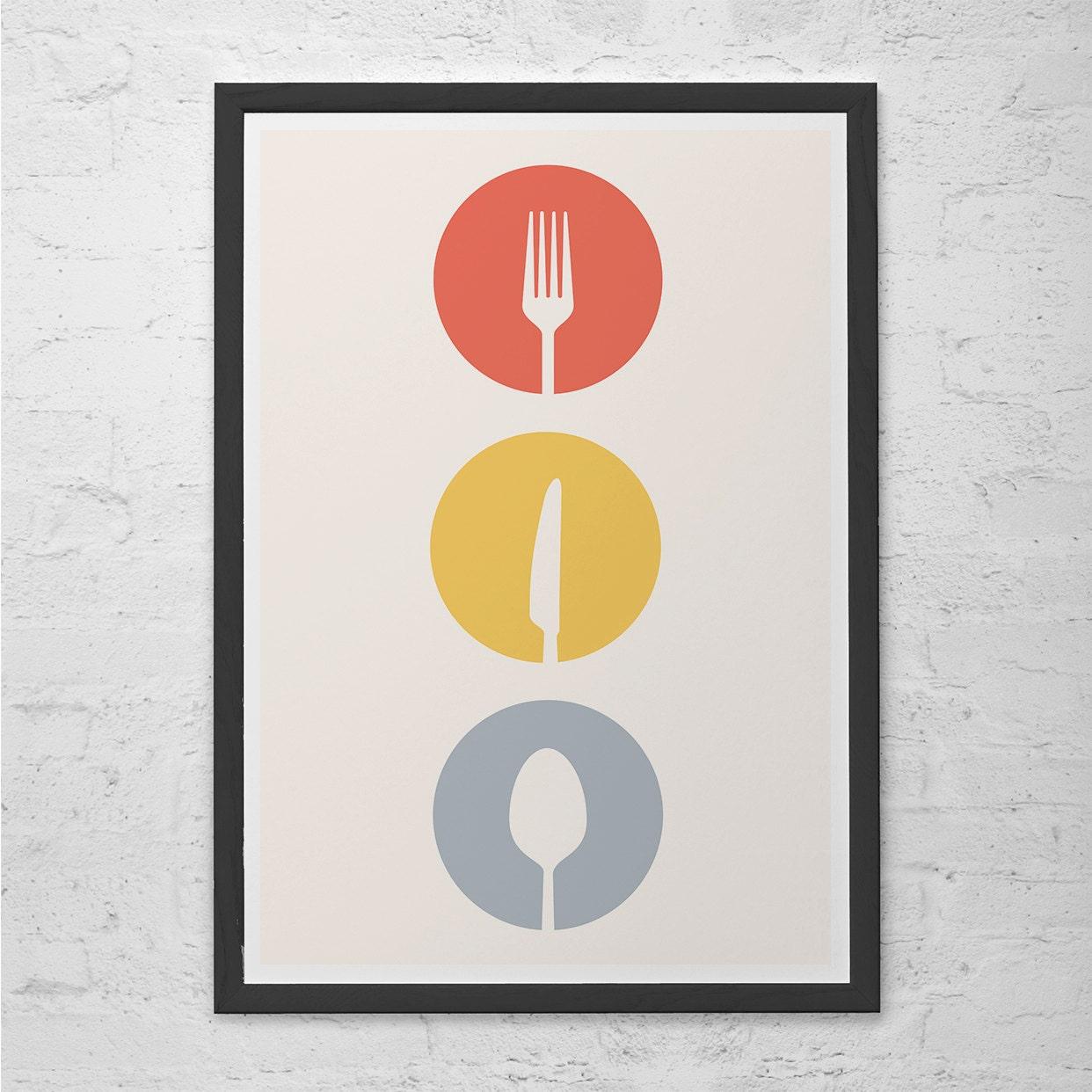 UTENSILI cucina Art Poster posate minimalista metà del