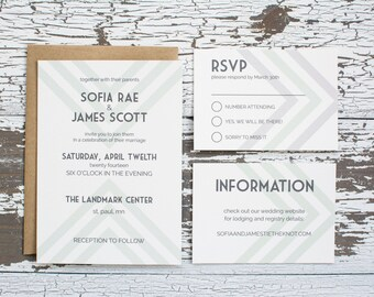 Modern Chevron Wedding Invitation