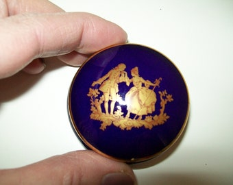 Limoges La Rein FRANCE Trinket Box , Small Limoges Lidded Trinket Box. Jewellery Box. Navy blue and Gold.