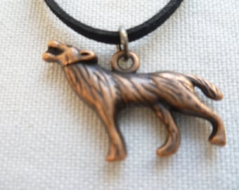 Wolf choker,wolf necklace,wolf jewellery,black choker,pagan jewelry,wiccan,charm necklace,choker necklace,gift,handmade,copper wolf,,