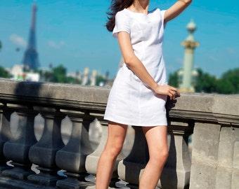 White Linen Dress,Linen Tunic,60s Mod Dress,Peter Pan dress,Linen midi dress,Casual Dress,Women linen clothing,White collar dress,handmade