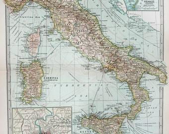 Antique Map : Italy, Rome, Venice. Encyclopedia Britannica, 1890s (30)