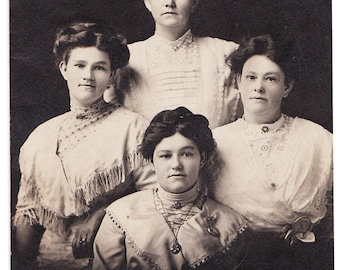 The Diamond Sisters - Vintage Real Photo Postcard of 4 Women