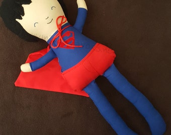 "Custom Handmade Superhero 18.5"" or 15"" Doll with accessories! Superman Inspired. Each is unique, one of a kind! Fully washable!"