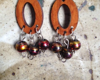 Wooden oval hoop and bead earrings, one of a kind