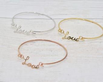 Love Bracelet, Love Gift, Love Bangle, Romantic Gift, Romantic Jewellery, Love Slogan Bangle, Love Jewellery, Fiancee Gift, Girlfriend Gift