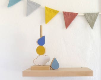 Stacking toy, wooden baby toy,  toddler toy , cloud, sun raindrop stacker
