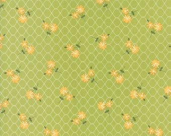 Pepper and Flax - Daisy Days in Sprig Green: sku 29041-18 cotton quilting fabric by Corey Yoder for Moda Fabrics