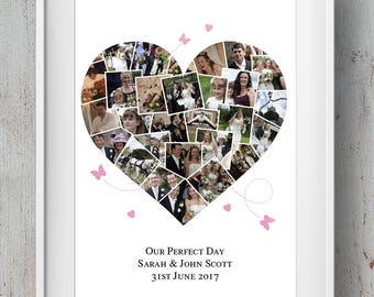 Bespoke Wedding / Family / Anniversary Heart Photo Montage / Wedding Photo Collage
