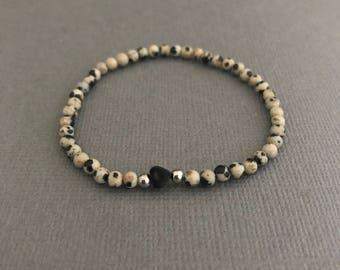 Teeny Dalmatian Heart Bracelet, Heart Bracelet, Animal Print Bracelet, Dainty Bracelet, Gifts for Her