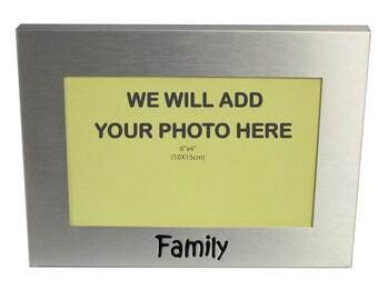 Your Own Photo In A Frame - Family - photo frame -  photo frame - 6 x 4 Inches photo size - aluminium satin silver colour- MF0030PHOTO