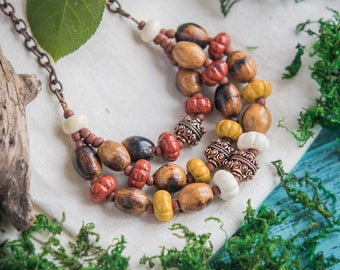 Boho chic necklace_mustard yellow_terracotta red_ivory brown_artisan lampwork glass_statement necklace_Mexico Frida jewelry_Mexican necklace
