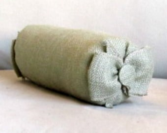 baby bow bolster vanity pillow sage burlap 4x11