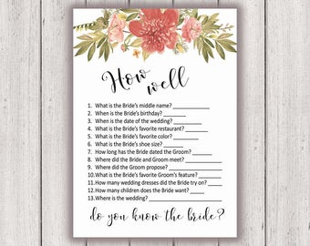 BRIDAL SHOWER GAME, How Well Do You Know the Bride, Printable Bridal Shower Game, Boho Chic Bridal Party Game, Printable Game Card, diy