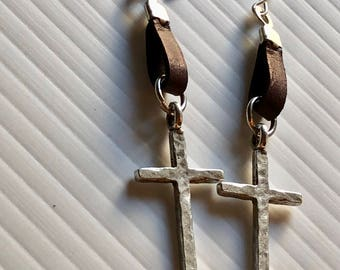 TRENDING NOW Chocolate Leather and Silver Cross Earrings