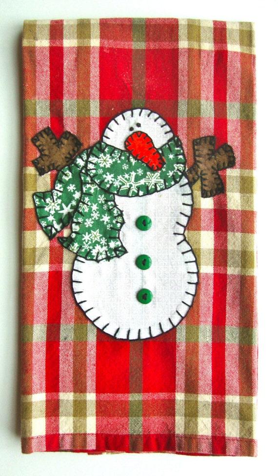 Geschirrtuch Weihnachten Weihnachten Schneemann Applique