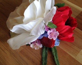 Rose and strawberry hair flower, summer, spring, rockabilly, pin up, wedding