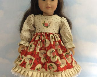 "Pink rose hearts dress fits 18""American girl doll"