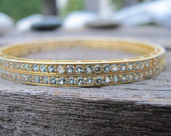 Blue Topaz Bangle- Gold Bracelet Bangle- December Birthstone Bangle- Blue Gemstone Bangle- Boho Statement Bracelet Bangle