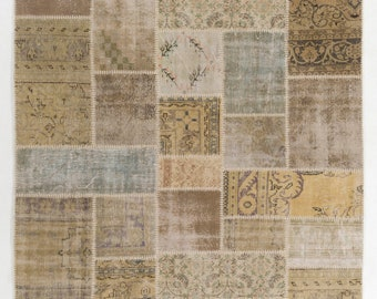 Patchwork Rug - Handmade from Assorted Vintage Turkish carpets.   Wool & Cotton.  Made to Measure in Ten Days!       D835