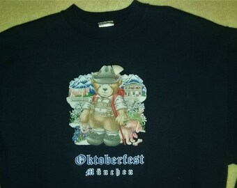 Vintage Graphic Sweatshirt Oktoberfest Munich Munchen Germany Teddy Bear Size Medium
