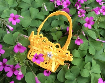 Embroidered Lace Tiny Easter Basket Golden Yellow