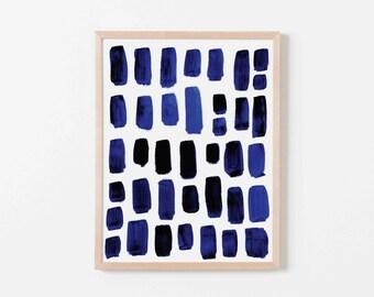 Cobalt Watercolor Mosaic Nursery Art. Nursery Wall Art. Nursery Prints. Nursery Decor. Boy Wall Art. Navy Watercolor Art.