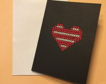Red & White Striped Heart Card