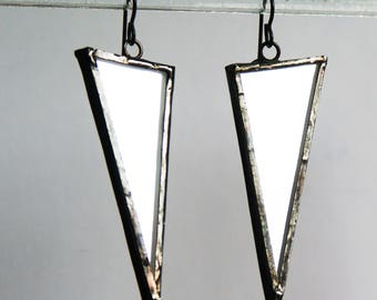 Mirror Earrings, Triangle Mirror Earrings, Glass Earrings, Stained Glass Earrings, Geometric Earring, Modern Earring, minimal earring