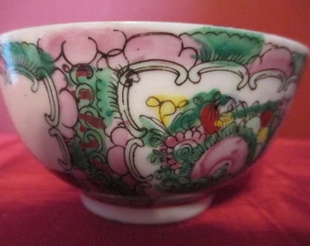 vintage Rose Medallion rice bowl made in Japan with figures and flowers in pinks and greens  PRICE REDUCED
