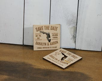 Save the Date Magnet/Engraved Ornament/Wedding/Favor/Wedding Ornament/Tag/Personalized/Wood/Napkin/Shower Favors/Wood Magnet