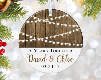 5th Anniversary Ornament, Wife Christmas Gift for Anniversary Gift for Wedding Anniversary Gifts for Her Him Personalized Ornament