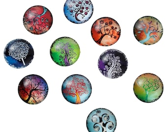 """set of 10 cabochons 25 mm """"tree of life"""""""