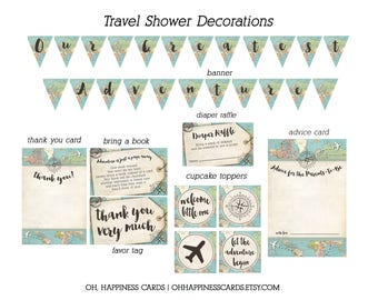Printable Travel Theme Baby Shower Decorations   World Map Shower   Travel Shower Decor   Adventure Theme   Adventure Banner   Awaits