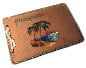 Hand Painted Sunset Beach Souvenier Sanpshot Photo album 1940's Or 50's