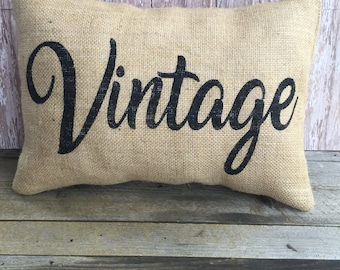 Burlap Vintage Pillow Cover 12x16