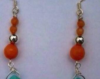 Turquoise and Tangerine Jade Dangle Earrings