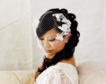 15 inch Bandeau Birdcage Veil with Bridal Lace