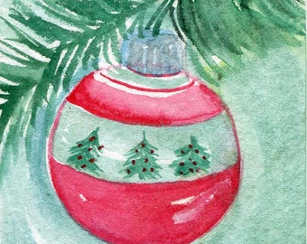 original ACEO Christmas ornament watercolor painting, small Christmas art card, original ACEO art, aceo card, OOAK
