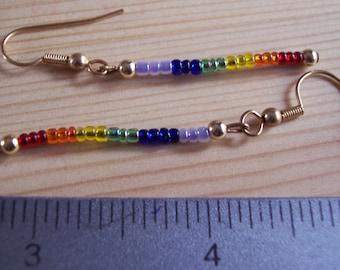Pair of Gold Tone Rainbow Earrings