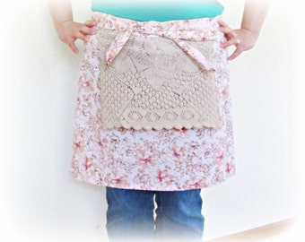 SALE Half Apron For Women Pink - Vintage Boho Crochet Doily Retro Girls - Mad Men Shabby Chic Rustic Pastel - Beige Floral Botanical Teens