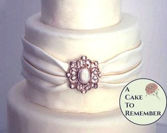 Pearl band DIY wedding cakes edible brooch cake brooch