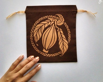 Bittersweet Chocolate and Copper Cacao Drawstring Bag