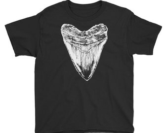 Kids Megalodon tshirt, Megalodon fossil tooth tshirt for the young fossil hunters