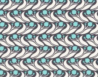 SALE - Swaying Floral Blue - Grey Abbey - Cloud9 Fabrics - Organic Cotton - Poplin by the Yard
