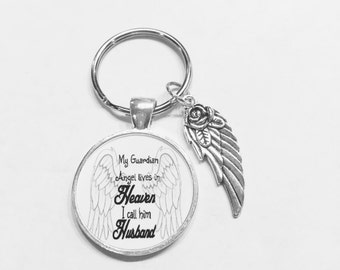 Husband Angel, My Guardian Angel Lives In Heaven Husband Remembrance In Memory Wing Sympathy Gift Keychain