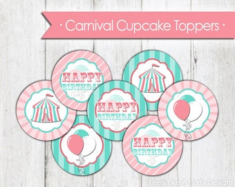 Pink Carnival Cupcake Toppers - Instant Download