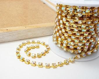 Gold Rhinestone Chain, AB Crystal, (6mm / 1 Foot Qty)