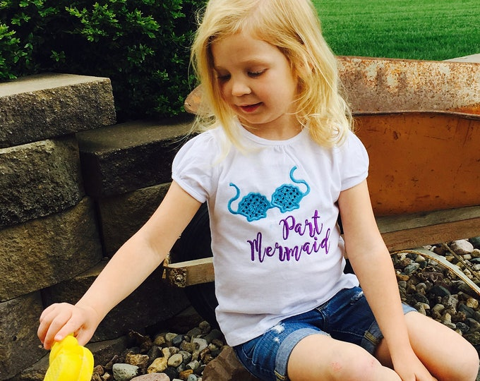Featured listing image: Part Mermaid girls embroidered shirt, mermaid life girls summer clothes, baby girls beach wear, girls clothes, glitter teal purple embroider