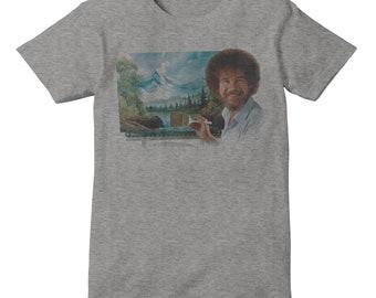 BOB ROSS The Joy Of Painting Inspired TShirt Faded RETRO Print on Tri Blend #1